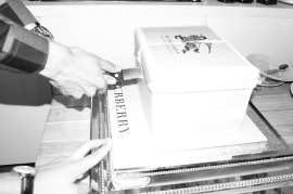 Cutting Burberry Cake